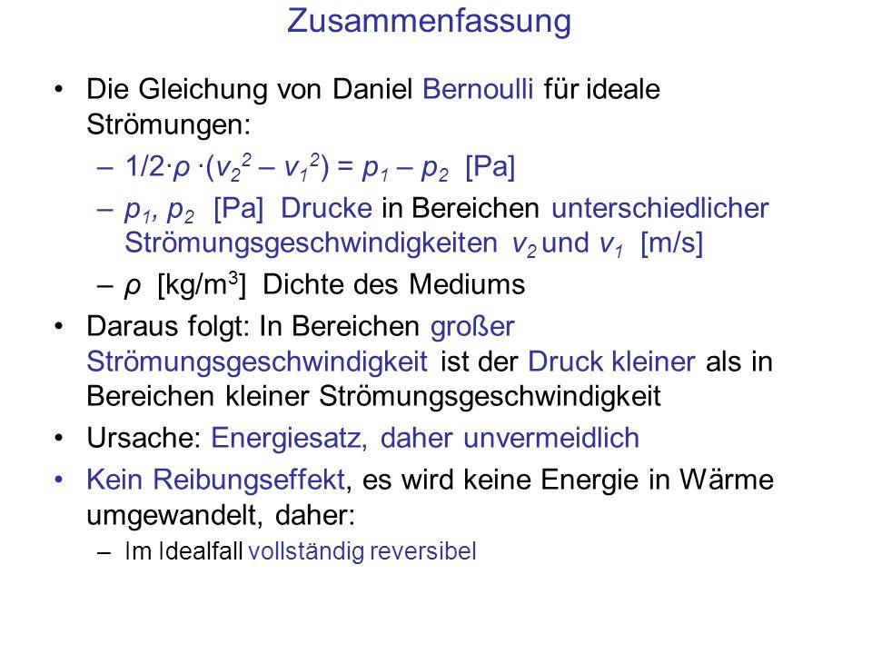 Zusammenfassung Die Gleichung von Daniel Bernoulli für ideale Strömungen: 1/2·ρ ·(v22 – v12) = p1 – p2 [Pa]